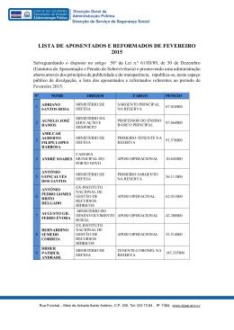 LISTA DE APOSENTADOS E REFORMADOS DE FEVEREIRO 2015