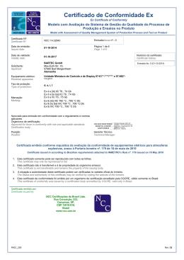 Certificado de Conformidade Ex