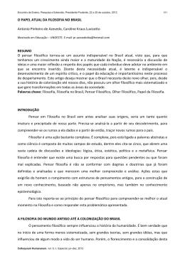 O PAPEL ATUAL DA FILOSOFIA NO BRASIL Antonio Pinheiro de