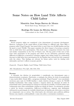 Some Notes on How Land Title Affects Child Labor