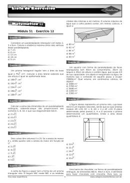 Lista de exercícios 3 Ano Apostila 02 Matematica II