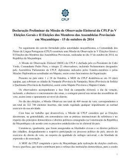 Declaração Preliminar da Missão de Observação da CPLP à