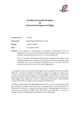 Acordão CJ 31 2014 21 07 2014 - Federação Portuguesa de Rugby