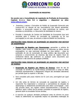 Documentos para suspensão de regitro - CORECON-GO