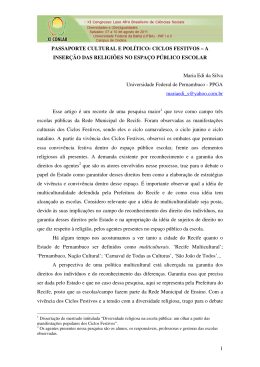 CICLOS FESTIVOS - XI Congresso Luso Afro Brasileiro de Ciências