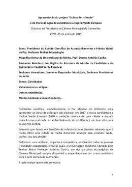 DISCURSO - Presidente Município de Guimarães