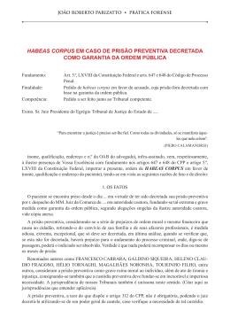 habeas corpus em caso de prisão preventiva decretada