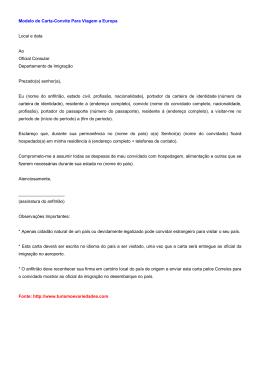 Modelo de Carta-Convite Para Viagem a Europa