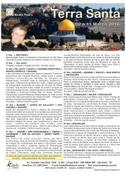 02 a 11 MARÇO – Terra Santa com Pe. Claudio Dias