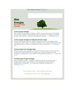 Dicas para poupar Energia