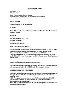 CURRICULUM VITAE IDENTIFICAÇÃO Maria Filomena dos Santos Barata B