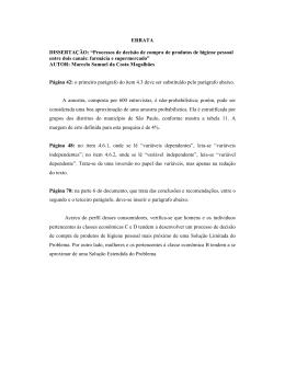 """ERRATA DISSERTAÇÃO: """"Processos de decisão de compra de"""