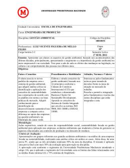 ENGENHARIA DE PRODUÇÃO Disciplina: GESTÃO AMBIENTAL