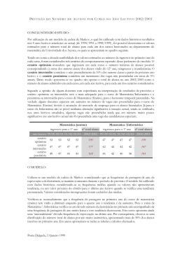previsão do número de alunos por curso no ano lectivo 2002/2003