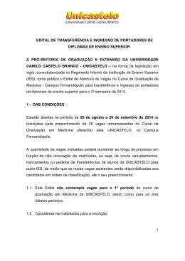 EDITAL DE TRANSFERÊNCIA E INGRESSO DE