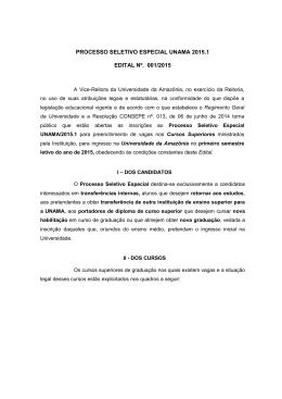 Processo Seletivo Especial Unama 2015.1