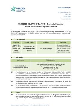 PROCESSO SELETIVO 2º Sem/2015 – Graduação