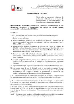 Resolução PPMEC – 002/2015 Dispõe sobre as regras para