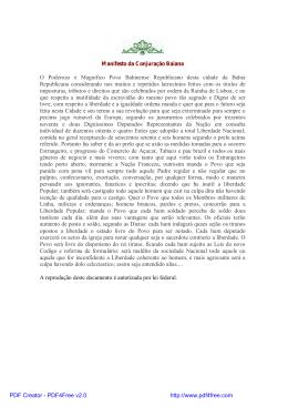 Manifesto da Conjuração Baiana O Poderozo e Magnifico Povo