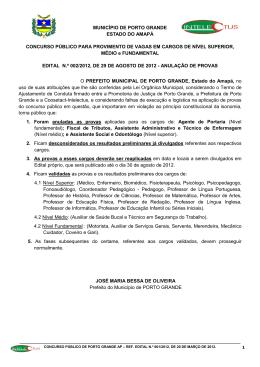 EDITAL PORTO GRANDE REAPLICAÇÃO DE PROVAS