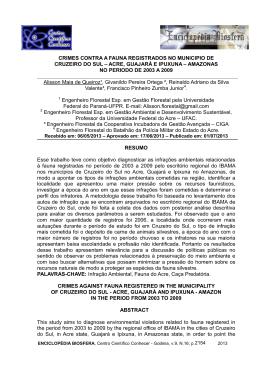 crimes contra a fauna registrados no municipio de cruzeiro do sul