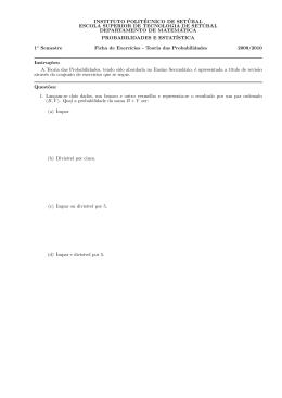 Ficha de exercícios de revisão - Instituto Politécnico de Setúbal