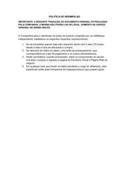 POLITICA DE REEMBOLSO A Companhia para o reembolso do