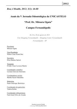 """Anais da V Jornada Odontológica da UNICASTELO """"Prof. Dr"""