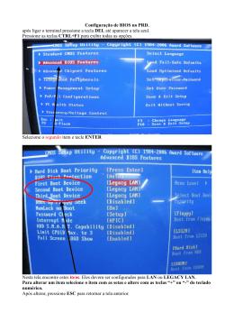 Configuração de BIOS no PRD. após ligar o terminal pressione a