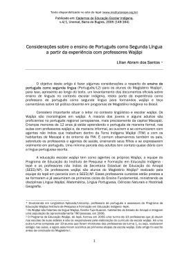Considerações sobre o ensino de Português como Segunda Língua