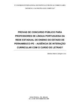 PROVAS DE CONCURSO PÚBLICO PARA