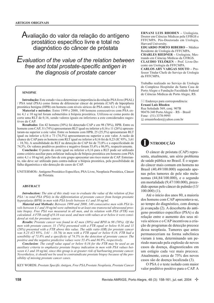 valores del agente específico de la próstata psal