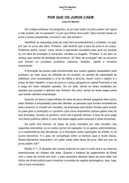 13_ Por que os juros caem - José Pio Martins
