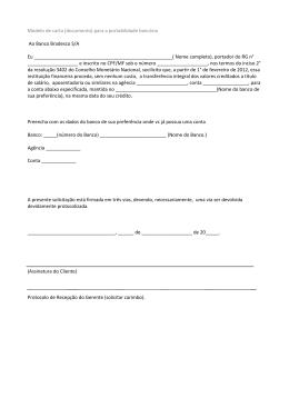 Modelo de carta (documento) para a portabilidade