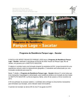 Programa de Residência Parque Lage – Sacatar