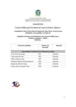 Lista de Candidatos - Edital 003/2015 - Uezo