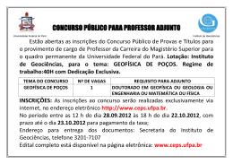 CONCURSO PÚBLICO PARA PROFESSOR ADJUNTO