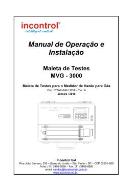 Manual de Operação e Instalação
