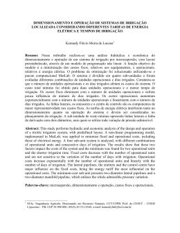 dimensionamento e operação de sistemas de irrigação localizada