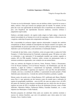 Cartórios: Segurança e Eficiência * Rogério Portugal Bacellar