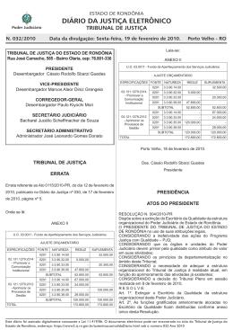 19 - Tribunal de Justiça de Rondônia