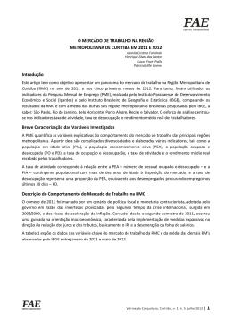 O MERCADO DE TRABALHO NA REGIÃO METROPOLITANA DE