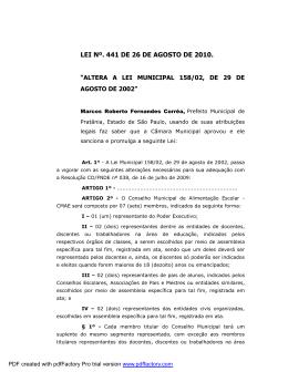 lei nº. 441 de 26 de agosto de 2010.