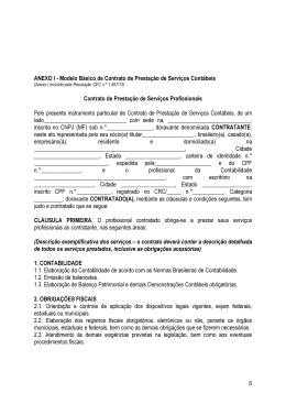 ANEXO I - Modelo Básico de Contrato de Prestação de Serviços