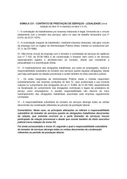 SÚMULA 331 - CONTRATO DE PRESTAÇÃO DE SERVIÇOS