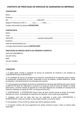 contrato de prestação de serviços de assessoria de imprensa