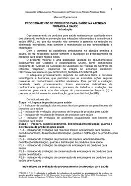 1 Manual Operacional PROCESSAMENTO DE PRODUTOS PARA