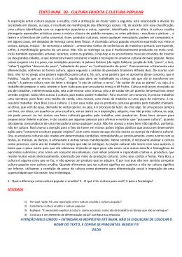 TEXTO NUM. 03- CULTURA ERUDITA E CULTURA POPULAR
