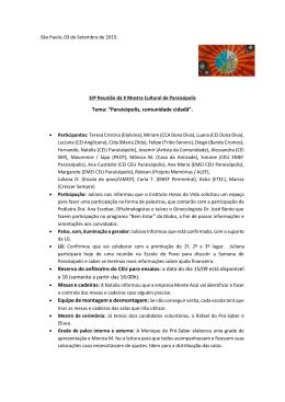 "Tema: ""Paraisópolis, comunidade cidadã"". • Reserva do anfiteatro"