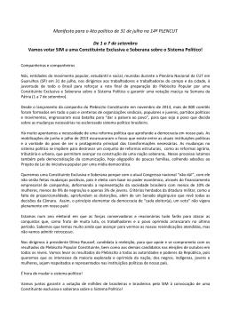 Manifesto para o Ato político de 31 de julho na 14ª PLENCUT De 1